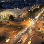 5. Sounddesignforum - Frankfurter Tor - Lounge im Turm - Blick auf die Kreuzung Karl-Marx-Allee/Warschauer Straße