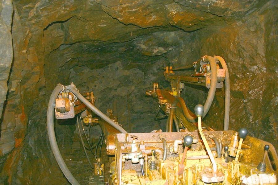 Bergwerksbohrer in der Zinngrube Ehrenfriedersdorf